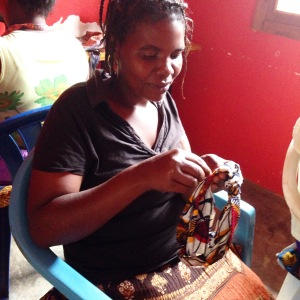 Kyomukama is a new student in Abide's @stitchedtogetheruganda shop. Here the ladies learn how to hand make items to support their families. Items will be available for sale once inventory is increased, so follow Stitched Together for the latest news!