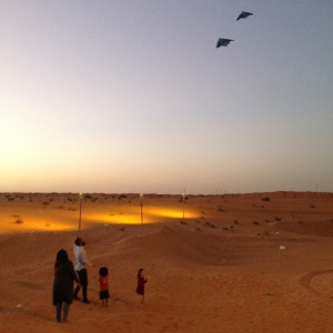 Flying kites in the desert